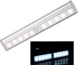 LED Motion Sensor Closet Light, Hosmide 10 LED Bulbs Battery Operated Wireless DIY Stick-on Anywhere Battery Operated Portable Wireless Cabinet Night/Stairs/Closet Light Bar, White