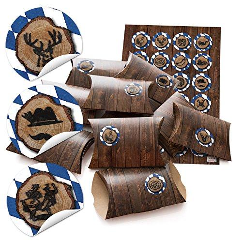 '24piccolo regalo scatole regalo scatole di cartone 14,5x 10,5cm (+ 3cm alto) effetto legno marrone + di Baviera dischi di legno + tenendo. Motivi Ø 4cm; per costruire aquilone e Riempire