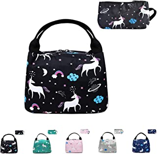 Reusable Lunch Bag Insulated Lunch Box Cute Lunch Tote, Easy to Clean and Folds Flat, Printed Lunch Handbag for Adult Woman Man Work Pinic or Travel, 2 Pack (Unicorn-black)