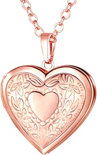 Women Girls Locket Necklace Platinum /18K Gold Photo Lockets Pendant with Rolo Chain 22