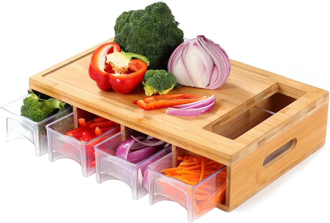 OKX Bamboo Cutting Board 2021 model Containers with Chopping Kitchen Easy-to-use