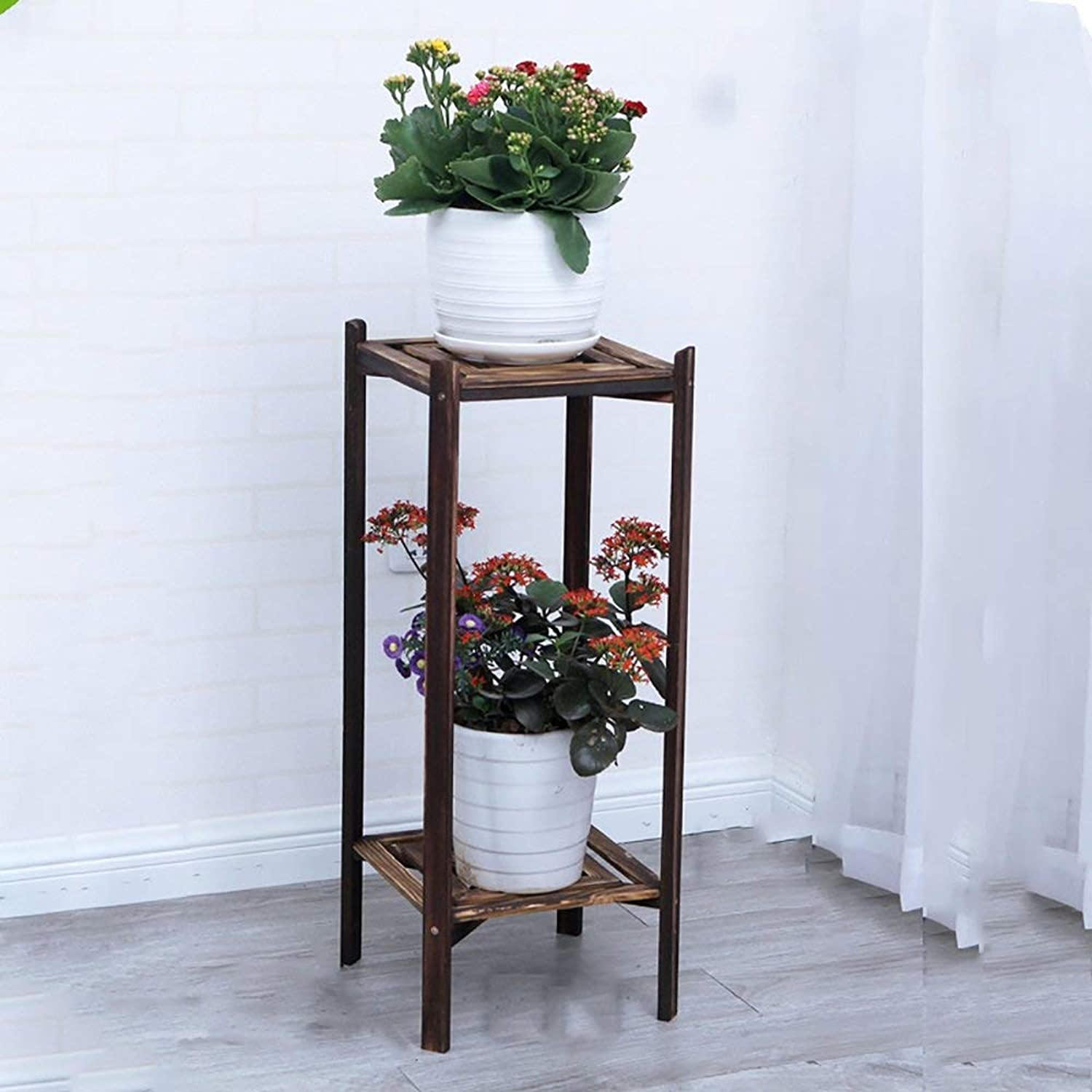 Shelves Organizer for Books Bookcase Bookshelf Ends Flower Stand Plant Shelf Floor-Standing Pure Wood Flower Table Vintage High Foot Living Room Balcony Strong Sturdy, QiXian, 75cm,