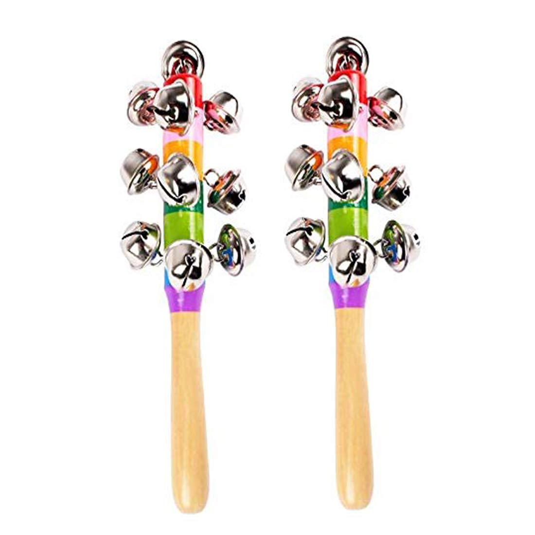 ELEOPTION Musical Instruments for Toddlers,kids Musical Instruments Wooden Bells Jingle Stick Shaker Rattle Vivid Color Rainbow Handle Musical Toys Set for Children Boys Girls With Storage Bag 4pcs