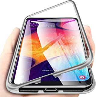 EabHulie Galaxy A50 Case, Hybrid 2 in 1 Transparent Tempered Glass Hard Back Metal Bumper Magnetic Adsorption Case Cover for Samsung Galaxy A50 Silver