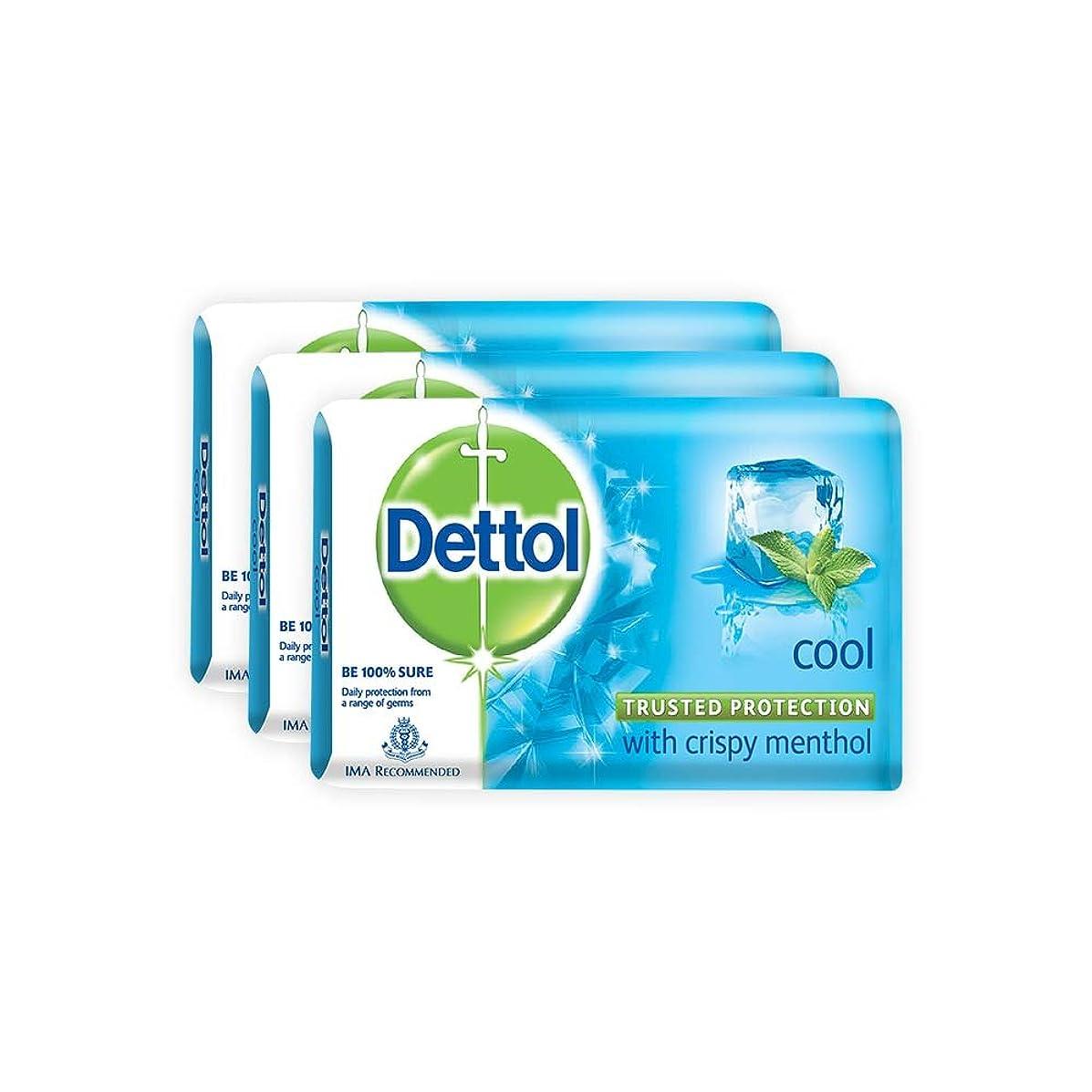 蘇生する無し肌寒いDettol Cool Bar Soap for Healthy Skin Pack of 3 (3 X 125 g)