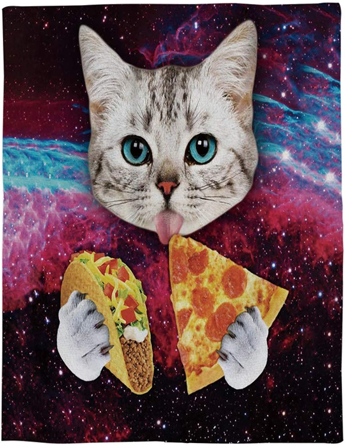 Beauty Decor Funny Bed Blanket 50x60 inch Flannel Blankets Space Cat Eat Pizza Starry Sky Backdrop Throw Blanket for Bedroom Living Rooms Sofa Throw Cover