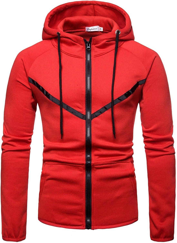 Qsctys Men's Full Zip Up Sweatshirts Hoodies - Long Sleeve Athletic Hooded Sweatshirt with Pocket Crewneck Fashion Patchwork