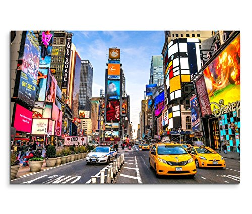 Paul Sinus Art 120x80cm Leinwandbild auf Keilrahmen New York Times Square Reklamen Straße Verkehr Wandbild auf Leinwand als Panorama