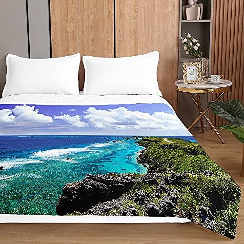 Colcha de Verano Cubrecama Colcha Bouti, Chickwin 3D Playa Impresión Edredón Manta de Dormitorio Primavera Ligero Colchas para Cama Individual Matrimonio (Olas Azules,200x230cm)