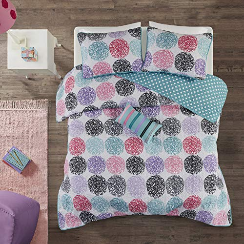 Mi-Zone Carly Twin/Twin XL Girls Quilt Bedding Set - Teal, Purple, Doodled Circles Polka Dots – 3 Piece Teen Girl Bedding Quilt Coverlets – Ultra Soft Microfiber Bed Quilts Quilted Coverlet