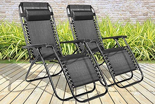 BARGAINSGALORE SET OF 2 RECLINING SUN LOUNGER OUTDOOR GARDEN PATIO GRAVITY CHAIR RECLINER BED (2 X SUN LOUNGER CHAIRS)
