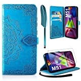 AROYI Lederhülle Kompatibel mit Samsung Galaxy M51 Hülle & Schutzfolie, Flip Handyhülle PU Leder Hülle Tasche Schutzhülle Magnetverschluss Flip Wallet, Blau