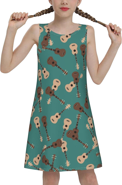 YhrYUGFgf Guitar Pattern Sleeveless Dress for Girls Casual Printed A-Line Jumper Skirt