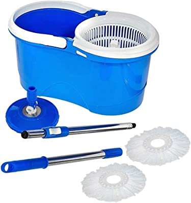 Majron Spin Bucket Mop with 2 Refills- Super Absorbent Refills for All Type of Floors, 360 Degree Spin Bucket, 180 Degree Bendable Handle, for Perfect Cleaning (Color May Vary)