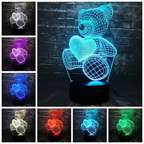 Baby Teddybär Halten Liebe Herz Ballon 3D USB LED Lampe Tisch Nachtlicht Home Room Decor Kinder Spielzeug Weihnachtsgeschenk (Multi,A)