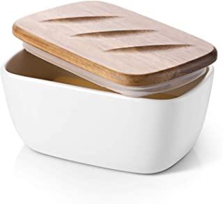 DOWAN Porcelain Butter Dish - Covered Butter Container with Wooden Lid for Countertop, Large Butter Dish with Covers Perfe...
