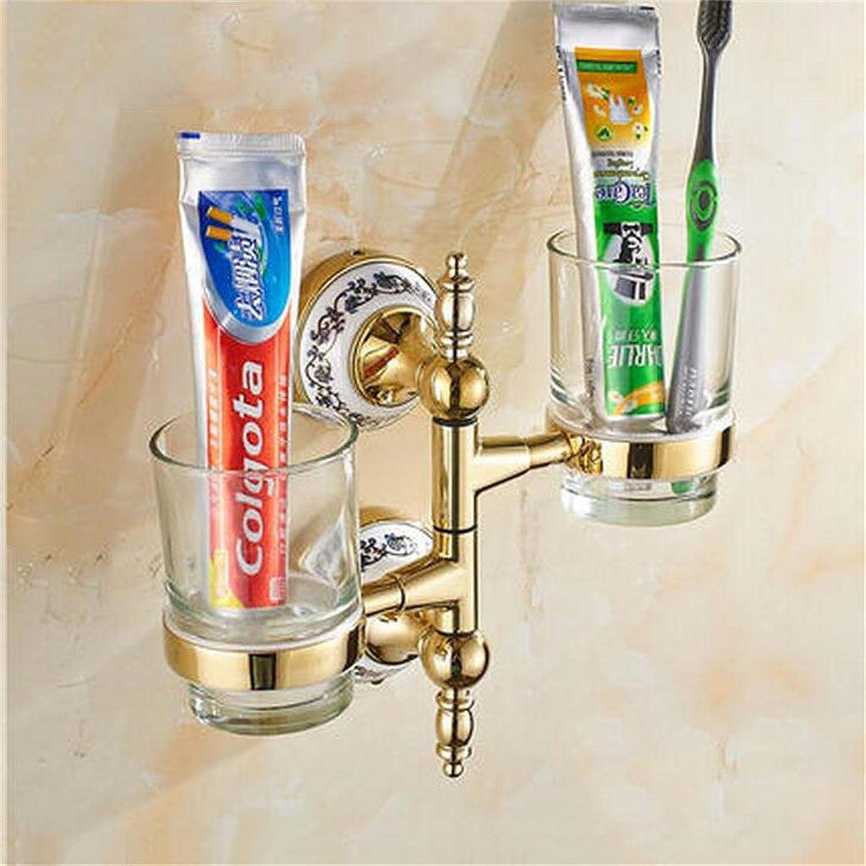 Cepillo de dientes de estilo europeo Portavasos Copa de enjuague dorado Portavasos giratorio de vidrio creativo Porcelana azul y blancoa Actividades para el bao Portavasos (Color   4 )