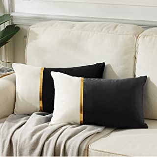 Fancy Homi 2 Packs Decorative Throw Pillow Covers 12x20 Inch for Living Room Couch Bed, Black and White Velvet Patchwork w...