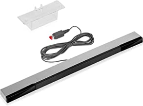 Fosmon Wired Infrared Motion Sensor Bar for Nintendo Wii / Wii U (Silver/Black) 7.5ft Length Cable