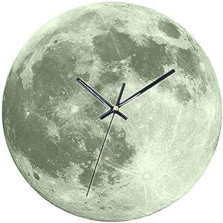 Yrattary リビングルームグレー発光月光壁時計ライト装飾壁ステッカー時計子供部屋クリエイティブ時計デジタル目覚まし時計装飾壁掛け時計