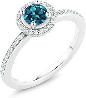 925 Sterling Silver London Blue Topaz Gemstone Birthstone Women's Ring 0.69 cttw (Available 5,6,7,8,9)
