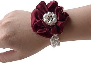 MOJUN Flower Wrist Corsage Pearl Crystal Bridemaid Wedding Prom Bracelet, Pack of 4, Burgundy