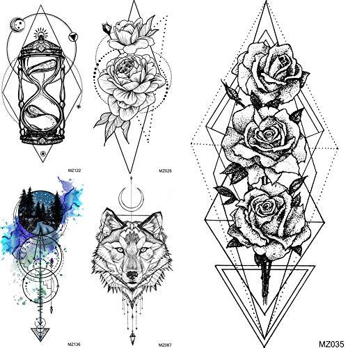 5Pcs Minimalist Rose Flower Geometrische Fox Wolf Fake Temporäre Tattoos Aquarell Tattoo Aufkleber Frauen Sandglas Sanduhr Tattoos