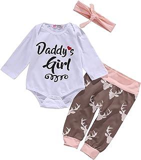 Tofasionla Newborn Baby Boy Girl Toddler Top  Deer Pants Boots Headband 3 Outfits Set