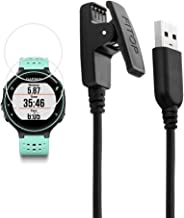 X1 for Garmin Forerunner 235 Charger 230 630 Charging Clip Sync Data Cable and 2Pcs Free HD Tempered Glass Screen Protector Replacement Charger for Garmin Forerunner 235 Smart Watch