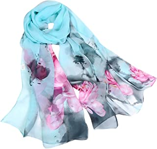 iYBUIA Fashion Elegant designWomen Lotus Printing Long Soft Wrap Scarf Ladies Shawl Scarves