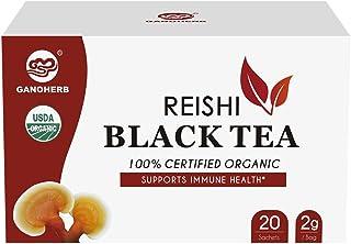 GANOHERB USDA Organic Reishi Mushroom Black Tea Bags (Lapsang Souchong) - Instant Herbal Tea - Boost Immune System & Stres...