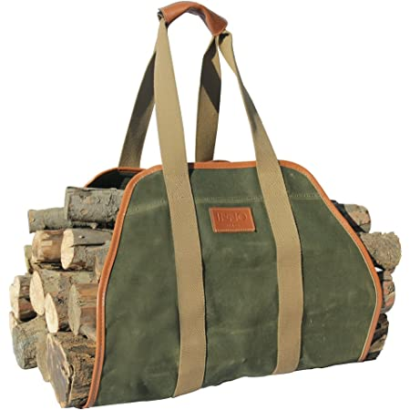 Inno Stage Waxed Canvas Log Carrier Tote Bag 40 X19 Firewood Holder Fireplace Wood Stove Accessories Home Improvement