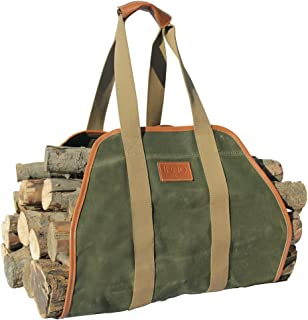 """INNO STAGE Waxed Canvas Log Carrier Tote Bag,40""""X19"""" Firewood Holder,Fireplace.."""