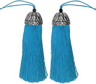 Zola Elements Tassel, Polyester Thread with Decorative Bell Cap 80mm, 2 Pieces, Antiqued Silver and Capri Blue