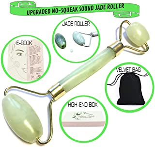 Anti Aging Jade Roller Massage for Face - 100% Natural Jade Stone for Face Treatment - for Puffiness, Slimming & Firming - Rejuvenates Skin & Remove Wrinkles - Noiseless no Squeak Sound