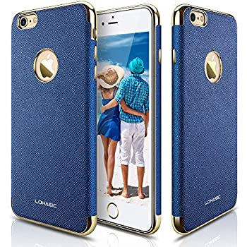 LOHASIC iPhone 6s Case iPhone 6 Case [Premium Leather] Luxury Textured Back Cover Electroplate Frame [Slim Body] Flexible Soft Shockproof Cases Compatible with iPhone 6s & iPhone 6 - [Ink Blue]