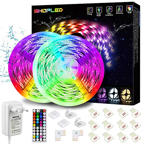 Tiras LED Impermeable 10M, SHOPLED Luces LED RGB 5050 con...