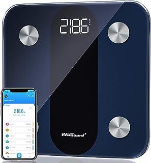 مقیاس چربی بدن ، مقیاس حمام دیجیتال بلوتوث WeGuard با ردیابی ضربان قلب ، مقیاس هوشمند BMI با دقت بالا ، تجزیه و تحلیل ترکیب بدن بدن با برنامه تلفن های هوشمند ، 15 اندازه گیری ، 396 پوند - سیاه