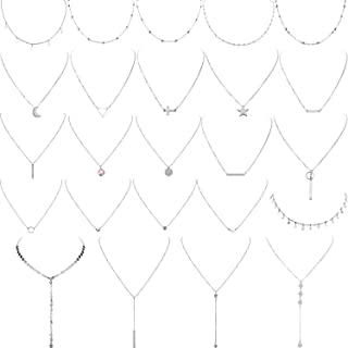 24 Pieces Layered Necklace Multilayer Choker Necklace Tiered Chokers Necklace Charm Pendant Necklace for Women Girls