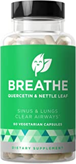 Breathe Sinus & Lungs Breathing – Seasonal Nasal Health, Open and Clear Airways, Bronchial Wellness, Healthy Chest – Quercetin, Nettle Leaf, Bromelain Pills – 60 Vegetarian Soft Capsules