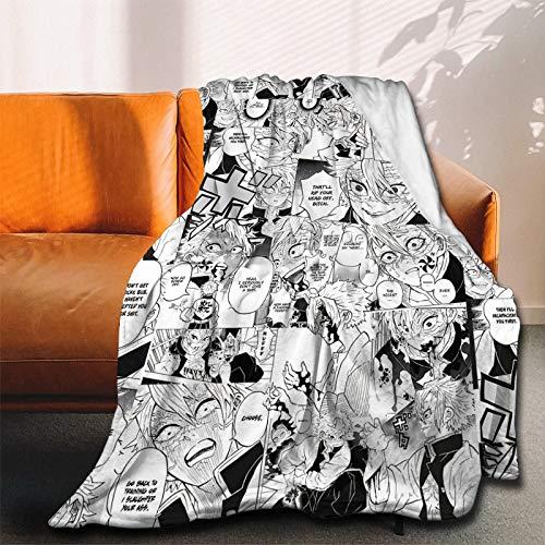 ANNBITION Demon Slayer Kimetsu No Yaiba Kny Collage Anime Manga Sanemi Manta de franela ultra suave colcha de microfibra polar manta duradera decoración del hogar perfecta para sofá cama 127 x 106 cm