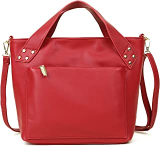 Women's Hangbag Tote Shoulder Bag PU Leather Crossbody Bag Fashion Ladies Top Handle Satchel Red