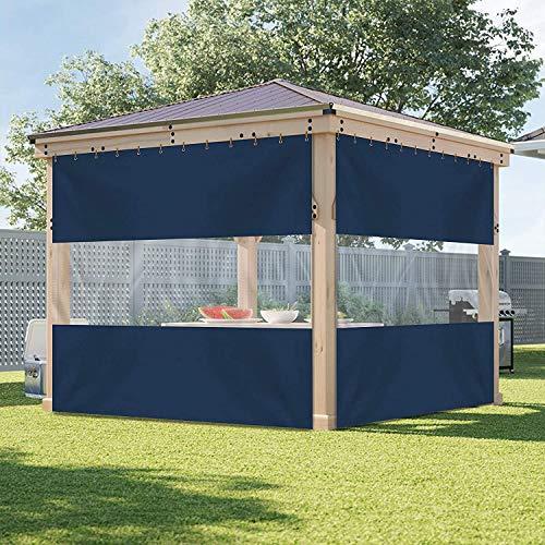 Cortina de vinilo para exteriores con panel de lona transparente, 12 onzas, 100% resistente a la intemperie, con ojales inoxidables, para pérgola, porche, cenadores (12 pies x 7 pies), color azul