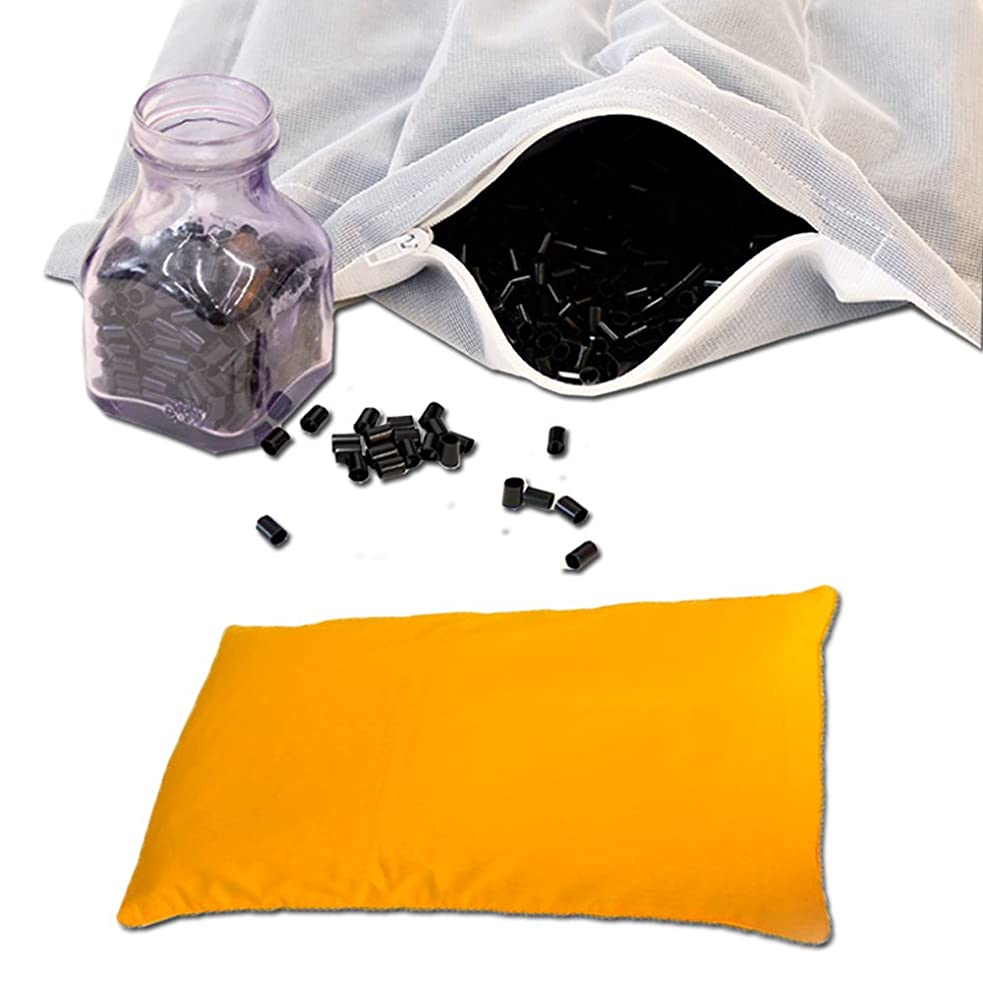 インストラクターいわゆる不良日本製 洗える パイプ枕 やわらかめ ワイドサイズ 約35×60cm 枕カバー付き イエロー 消臭 除湿 高さ調節