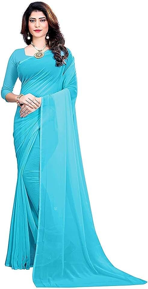 Indian kanha Women's Plain Weave Georgette Saree With Running Blouse Piece Saree
