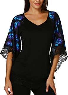 Wintialy women clothes Wintialy Womens Raglan T-Shirt With Lace Trim Top Blouse