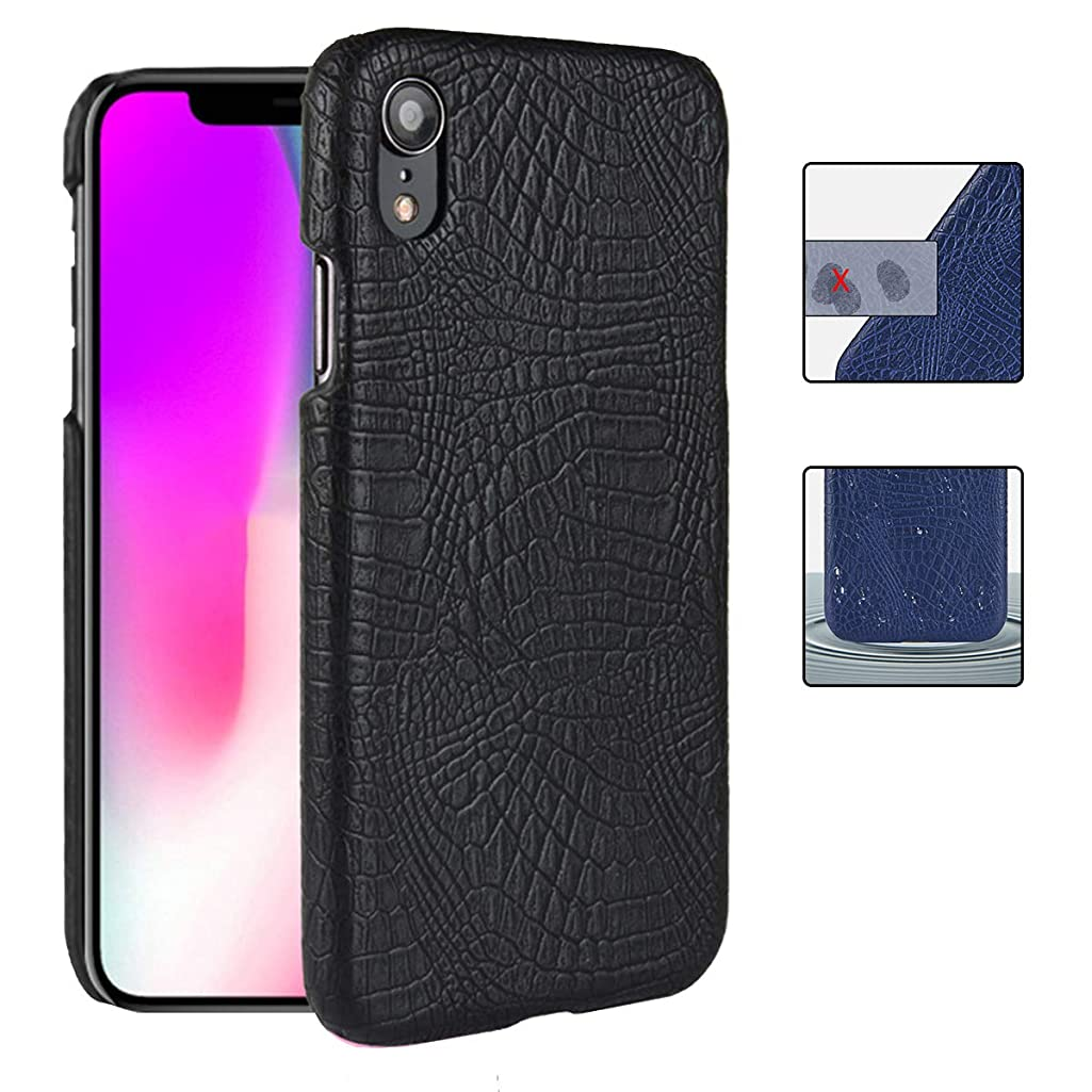 evershare iPhone XR Case Slim Fit Ultra-Thin Anti-Slip Crocodile Texture Coated Leather Cover for Apple iPhone 10R