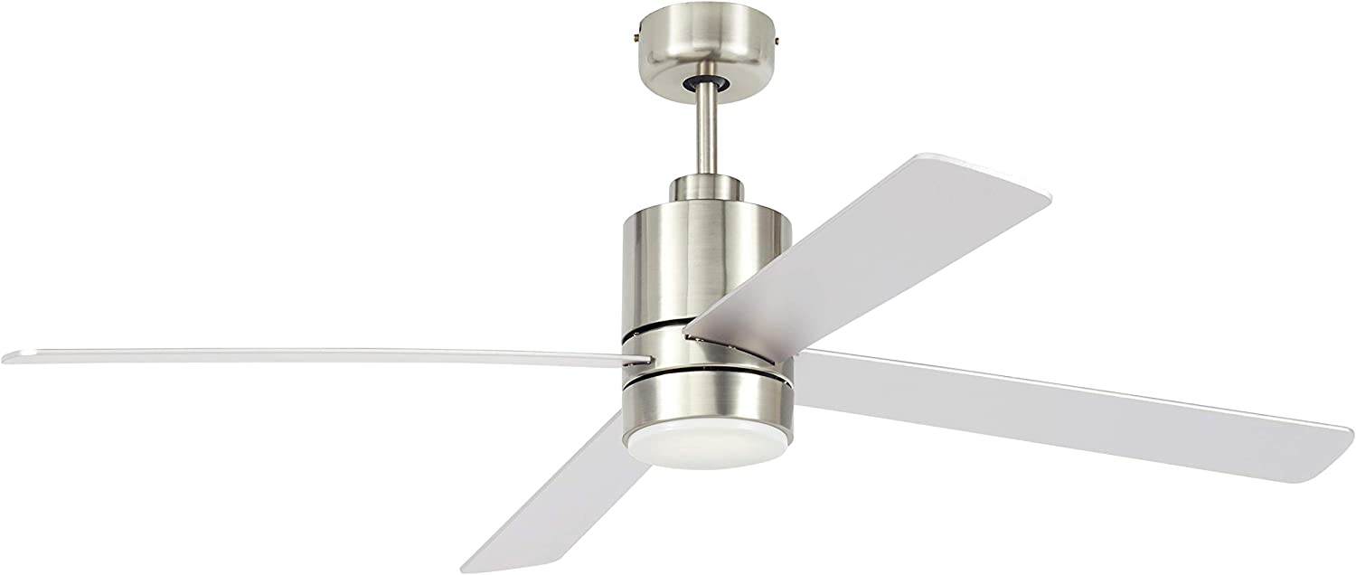 Amazon Brand Rivet Modern Cylindrical Base Remote Control Flush Mount Ceiling Fan With Led Light 52 W X 14 H Brushed Nickel Amazon Com