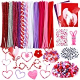 Caydo 825 Pieces Valentine Day DIY Craft Sets, Including Pipe Cleaners, Pom Poms,Wiggle Eyes, Pony Beads, Feather, Felts and Rhinestone Gem Stickers for Valentine DIY, Creative Crafts Decorations