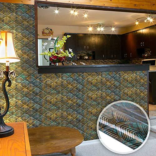 ENCOFT 4 Piezas Adhesivo para Azulejos Pegatinas de Azulejos Autoadhesivo Azulejo Rectangular, Pegatinas de Baldosas Impermeable para Cocina Baño, en PET Retro 60x40cm